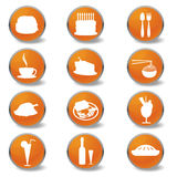 Iconos del Web del alimento y de las bebidas Foto de archivo