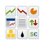 Iconos del Web del asunto de las finanzas Imagen de archivo libre de regalías