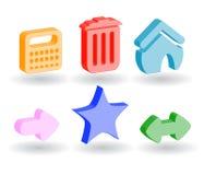 Iconos del Web del color 3d Foto de archivo