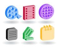 Iconos del Web del color 3d Imagen de archivo libre de regalías