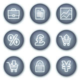 Iconos del Web del comercio electrónico, botones minerales del círculo Imagenes de archivo
