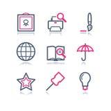 Iconos del Web del contorno del color, 9 Foto de archivo libre de regalías