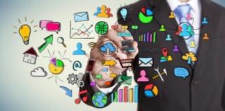 Iconos del web del dibujo del hombre de negocios Fotografía de archivo