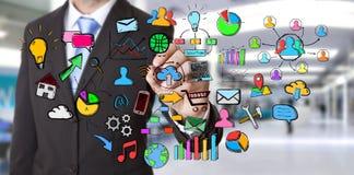 Iconos del web del dibujo del hombre de negocios Imágenes de archivo libres de regalías