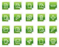 Iconos del Web del documento, serie verde de la etiqueta engomada Imágenes de archivo libres de regalías