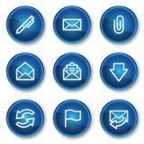 Iconos del Web del email, botones azules del círculo Fotografía de archivo