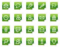 Iconos del Web del email, serie verde de la etiqueta engomada Foto de archivo