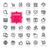 Iconos del web del esquema fijados - comercio electrónico Fotos de archivo