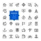 Iconos del web del esquema fijados - navegación, ubicación, transporte ilustración del vector