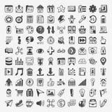 100 iconos del web del garabato Imagen de archivo libre de regalías