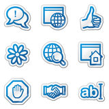 Iconos del Web del Internet, serie azul de la etiqueta engomada del contorno Imagenes de archivo