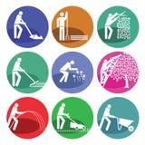 Iconos del web del mantenimiento del jardín Fotos de archivo