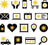 Iconos del web del negocio con el sol Imágenes de archivo libres de regalías
