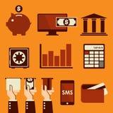 Iconos del Web del negocio y de las finanzas Imagenes de archivo