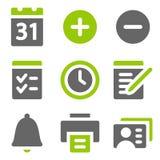 Iconos del Web del organizador, iconos sólidos grises verdes Fotos de archivo