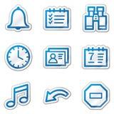Iconos del Web del organizador, serie azul de la etiqueta engomada del contorno Foto de archivo libre de regalías