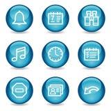 Iconos del Web del organizador, serie brillante azul de la esfera Foto de archivo