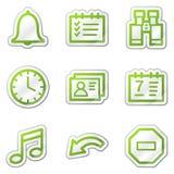 Iconos del Web del organizador, serie verde de la etiqueta engomada del contorno Fotografía de archivo