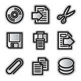 Iconos del Web del vector, ficheros de plata del contorno Fotografía de archivo