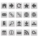 Iconos del Web en cuadrados grises Imagen de archivo libre de regalías