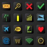 Iconos del web en el fondo negro Imágenes de archivo libres de regalías