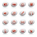 Iconos del Web en los botones 4 de la elipse stock de ilustración