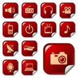 Iconos del Web en los botones 4 de la etiqueta engomada Imagen de archivo