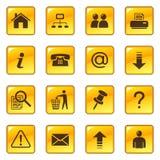 Iconos del Web en los botones brillantes Foto de archivo libre de regalías