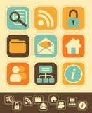Iconos del Web en Retro-estilo Imagen de archivo libre de regalías
