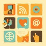 Iconos del web en Retro-estilo Foto de archivo