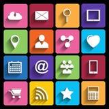 Iconos del web fijados en diseño plano Fotografía de archivo libre de regalías
