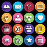 Iconos del web fijados en diseño plano Foto de archivo libre de regalías