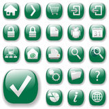 Iconos del Web Fijar-Verdes Fotografía de archivo libre de regalías