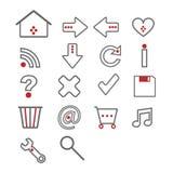 Iconos del Web - gris y rojo Imagenes de archivo