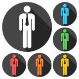 Iconos del web del hombre de negocios fijados con la sombra larga Fotos de archivo