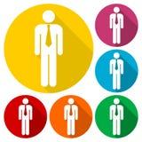 Iconos del web del hombre de negocios fijados con la sombra larga Fotos de archivo libres de regalías