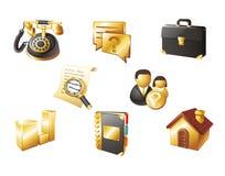 Iconos del Web. Oro y negro Foto de archivo libre de regalías