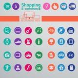 Iconos del web para el comercio electrónico, haciendo compras Fotografía de archivo libre de regalías