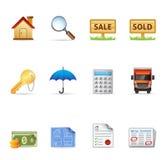 Iconos del Web - propiedades inmobiliarias Imágenes de archivo libres de regalías