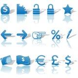 Iconos del Web site del dinero de las finanzas fijados azules Imágenes de archivo libres de regalías