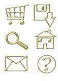 Iconos del Web site del oro Imagen de archivo libre de regalías