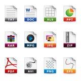 Iconos del Web - tipos de fichero stock de ilustración