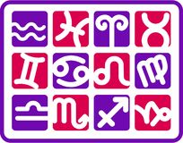 Iconos del zodiaco Imágenes de archivo libres de regalías