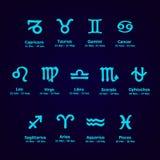 Iconos del zodiaco Sistema del horóscopo ilustración del vector