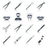 Iconos dentales de los instrumentos fijados negros ilustración del vector