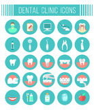 Iconos dentales del plano de servicios de la clínica Fotos de archivo
