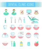 Iconos dentales del plano de servicios de la clínica en blanco Fotos de archivo libres de regalías