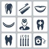 Iconos dentales del vector fijados Imagen de archivo libre de regalías