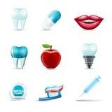 Iconos dentales realistas stock de ilustración