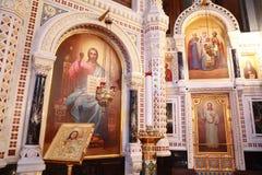 Iconos dentro de la catedral de Cristo el salvador Foto de archivo libre de regalías